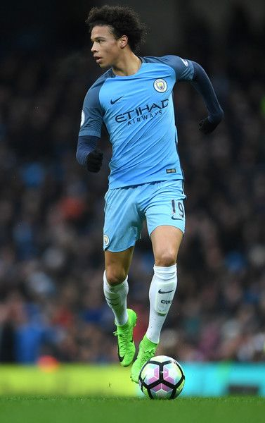 Leroy Sane of Manchester City in action during the Premier League match between Manchester City and Liverpool at Etihad Stadium on March 19, 2017 in Manchester, England.