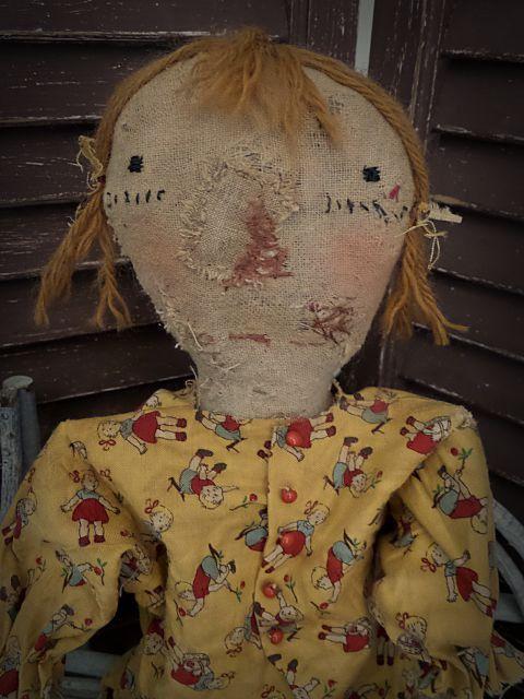 Art primitif, art populaire très primitif, extrême, début américain, Antique, Vintage, Raggedy Ann, vieux chiffon, Hafair, TeamHaHa, Rag Doll par moutarde