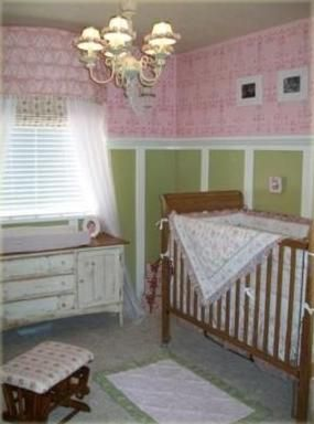 shabby chic: Shabby Chic, Ballerinas Nurseries, Rooms Ideas, Pink Wall, Ideas For A Girls Rooms, Baby Rooms, Green Nurseries, Nurseries Ideas, Baby Girls Nurseries Green