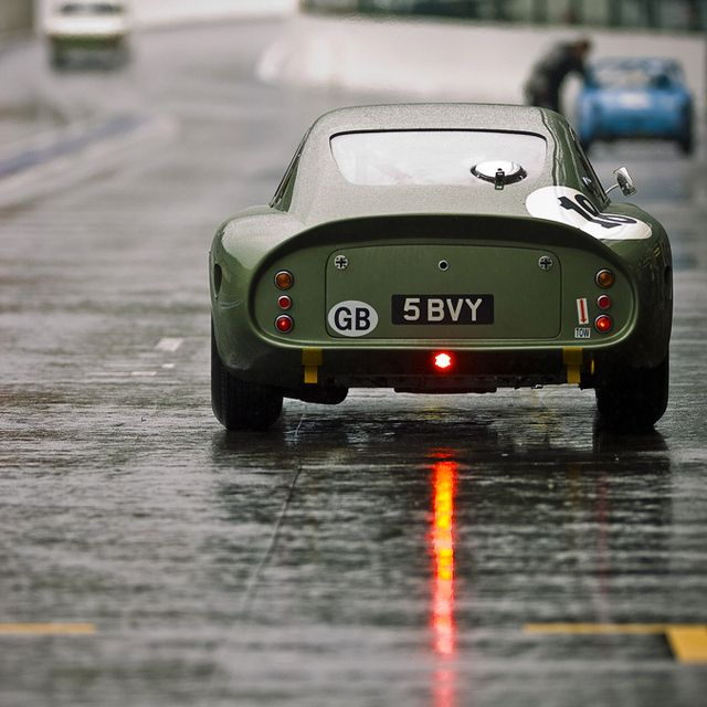 GB plate... 1963 Aston Martin DP214, car, rain, street, urban, driving, transportation, Great Britain, vintage car, grey, green, light, 1960s, transit, travel, journey, city