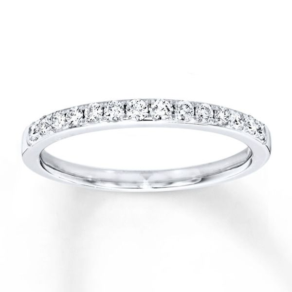 Diamond Wedding Band 1 4 Ct Tw 14k White Gold In 2020 Diamond Wedding Bands Diamond Anniversary Bands 14k White Gold Ring