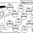 ~FREE~ Apple Unit practice pages for color words and roll a dice to match numbers to sets. ...