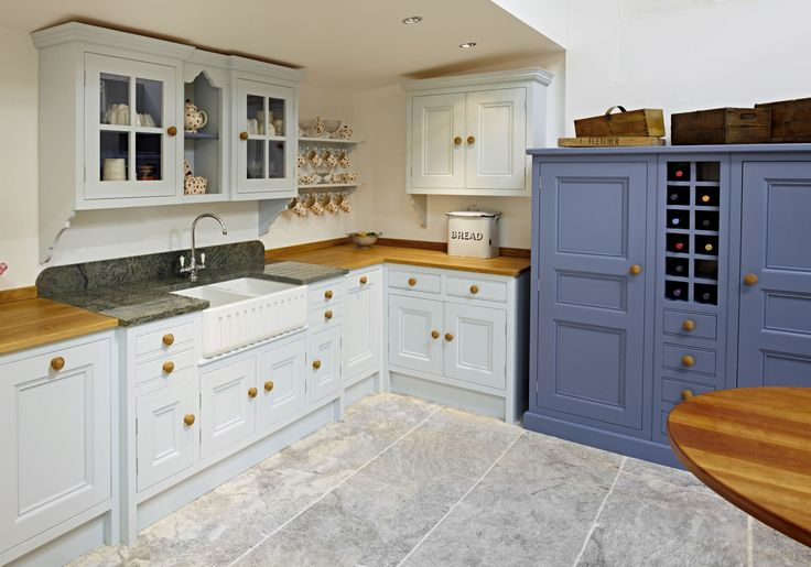Traditional Kitchen Hand Painted In Bone China Blue Mid