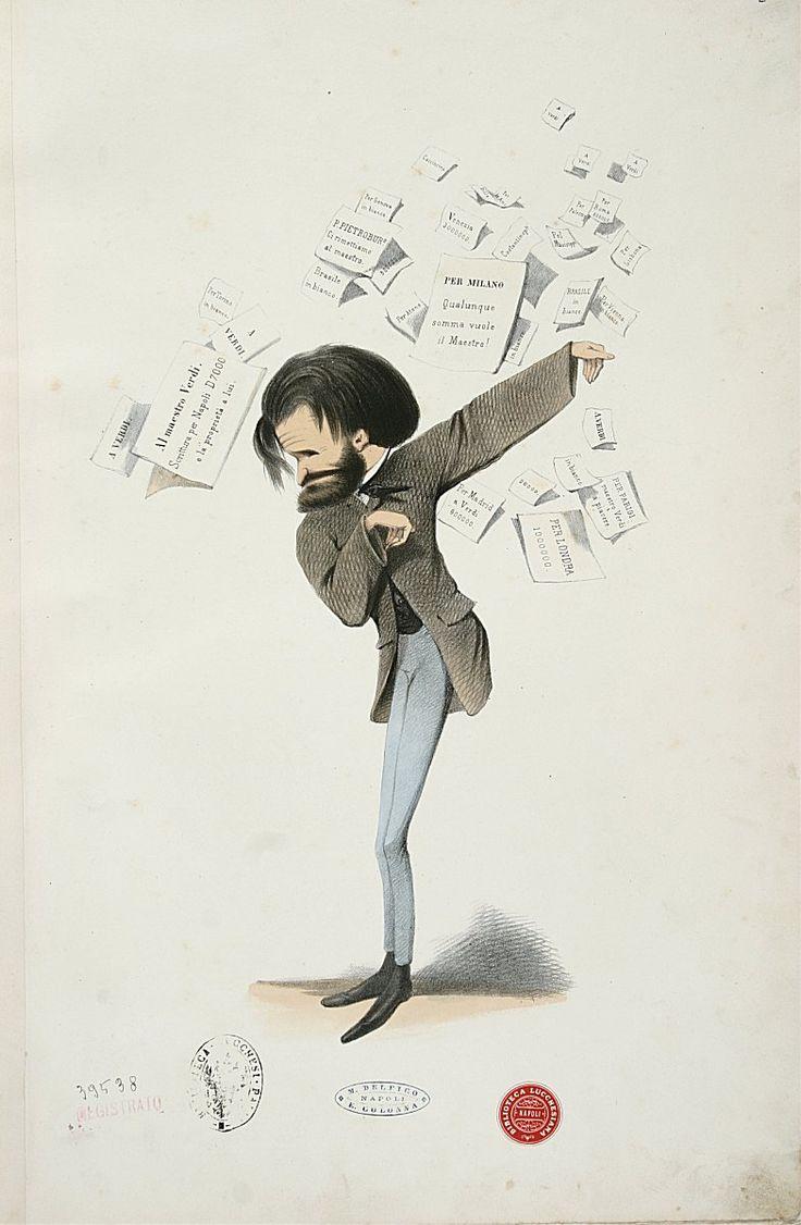 Giuseppe Verdi (1813-1901), caricature (1860), by Baron Melchiorre de Filippis Delfico (1825-1895).