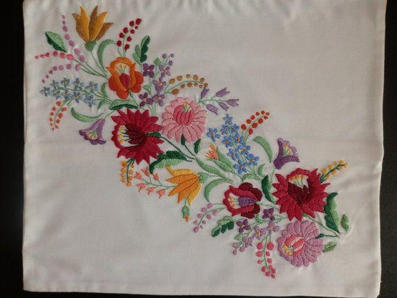 Pillow handmade embroideryHungarian Kalocsa by macaristanbul, $45.00