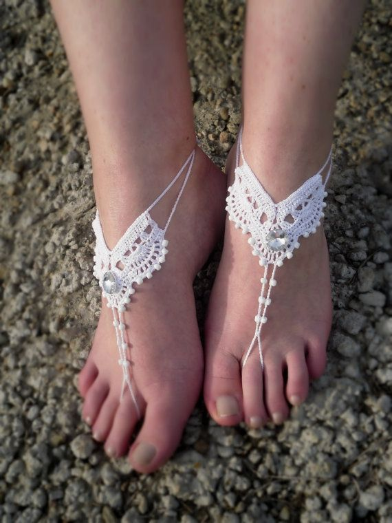 Crocheted beach wedding barefoot sandals  One size fits all.   If you need smaller or larger size, please write me, and I will make them specially for You!  These Barefoot Sandals are made using 100% cotton thread.  This listing is for 1 pair of barefoot sandals. They can be worn barefoot or with shoes.   Please convo me if you have any special requests for a different color.  Care: hand wash - lay flat to dry.