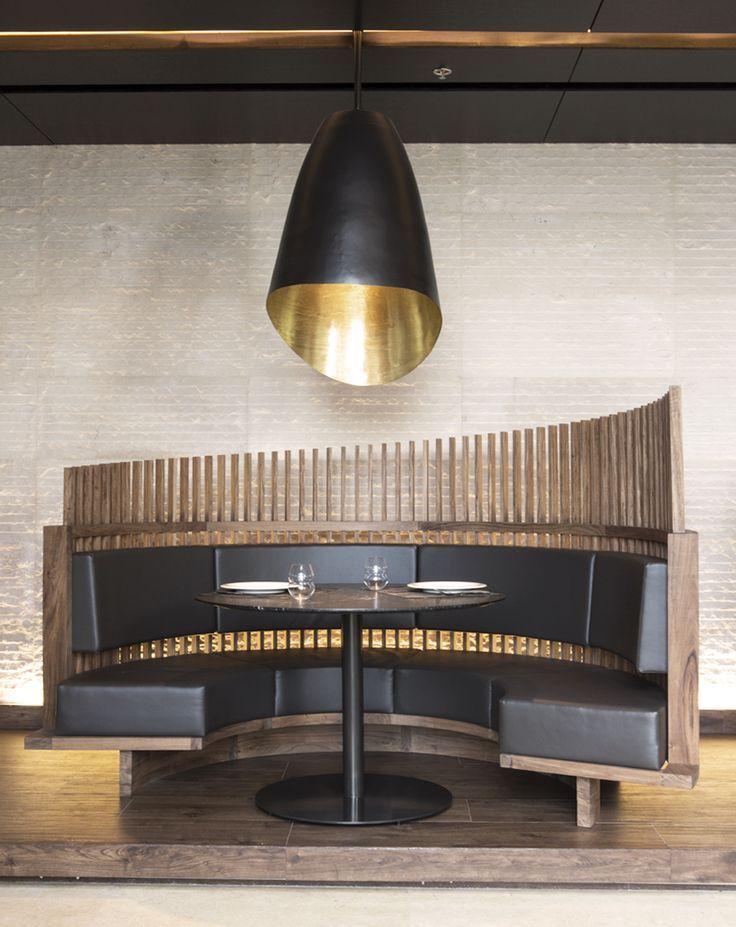 "black and wooden booth for a restaurant <a href=""/hbadesign/"" title=""HBA/Hirsch Bedner Associates"">@HBA/Hirsch Bedner Associates</a>  architecture, interior design"