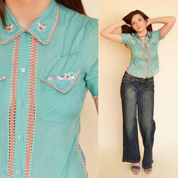 Hippie Blouse Embroidered Shirt 90's Boho by SixVintageChicks