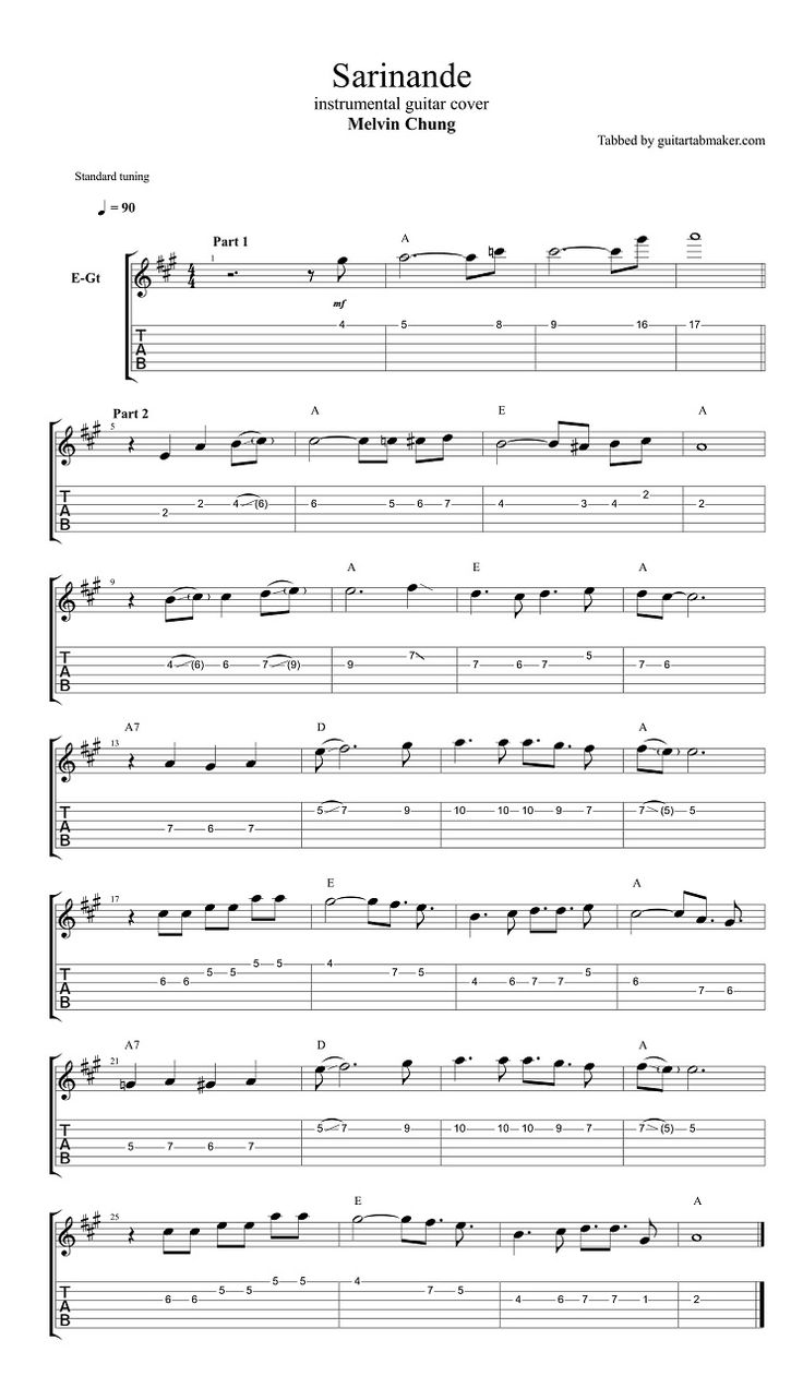 Sarinande instrumental guitar TAB - instrumental guitar cover by Melvin Chung - Guitar Pro TAB - PDF - guitar sheet music