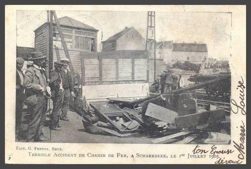 Ton épouse dévouée, Marie Louise  Mais que pousse cette femme à envoyer à son mari la photo d'un terrible accident de chemin de fer à Schaerbeek, en 1903?