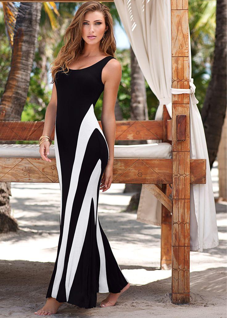 Vestido longo preto e branco encomendar agora na loja on-line bonprix.de  R$ 99,90 a partir de Vestido longo nas cores preto e branco. Modelo super ...