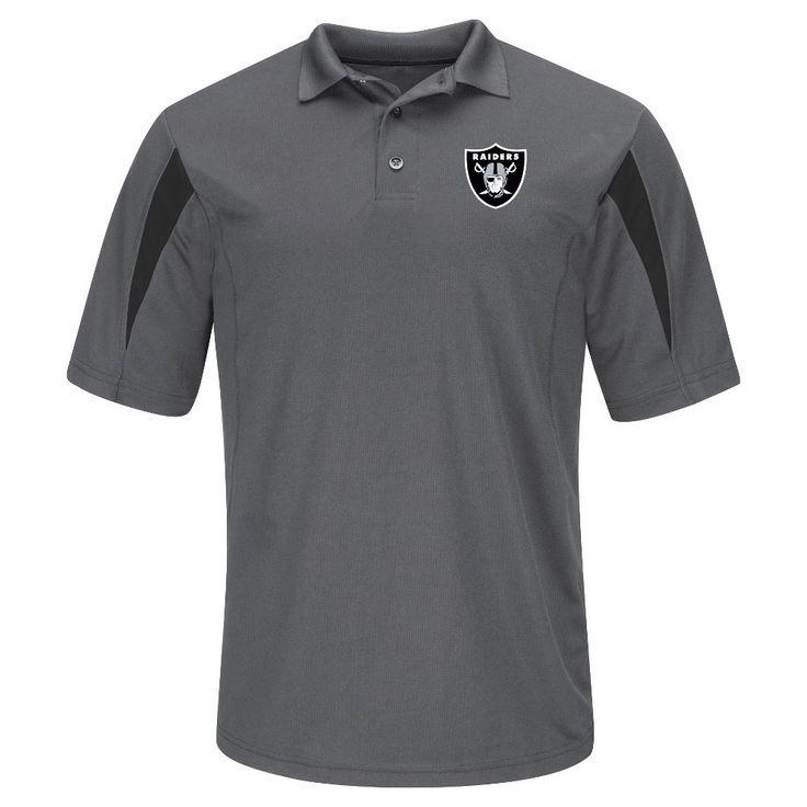 Oakland Raiders Men's Team Logo Polo Shirt - Grey Xxl, Multicolored