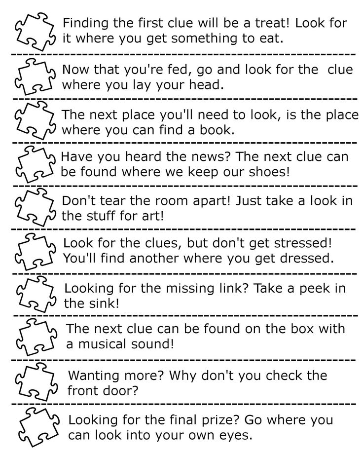 Clues for creating a puzzle hunt