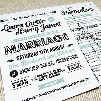 Retro Vintage Wedding Invitation