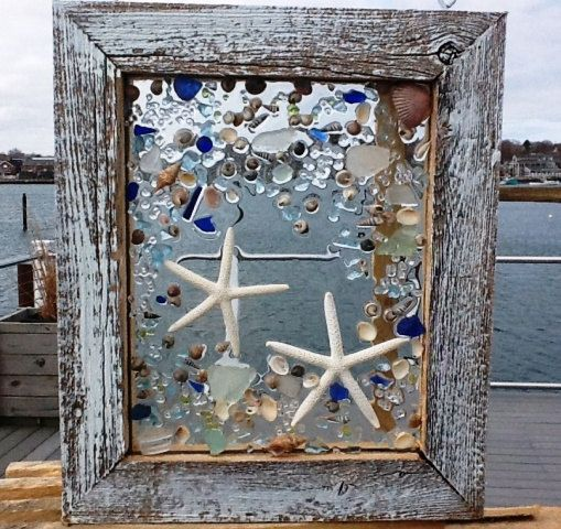 """Sea Glass Star Fish Window, by beachcreation on Etsy, $90.00 10"""" w X 12"""" L These white finger star fish appear to be dancing through beach glass and sea shells! The materials are not glued, but fused into the glass through a unique process. To really enjoy the colors and texture of these creations they should be hung in an existing window or be back lit. Hope you enjoy them as much as I do in creating them. We also wholesale!"""