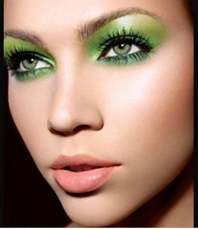 Beautiful make up look, plain lips , green eye shadow , lime green , dark green , forest green