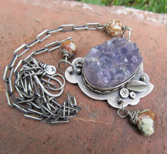 Outrageous DRUZY Necklace Sterling  Amethyst Purple DRUSY