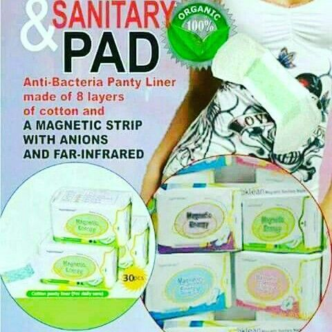 SUPERBKLEAN MAGNETIC  SANITARY NAPKIN (negative ion)  Preserves health   Relieves menstrual pain   Anti-bacterial  Anti-inflammatory  Eliminating odor   Promotes metabolism  Improves endocrine / glandular function   Enhances immunity   Relieves stress  Dysmenoria  UTI  Hormonal Imbalance  Hemoroids(almuranas) % organic,biodegradable ❤️Halal approved ❤️It can absorb up to 250ml ❤️Very absorbent and smooth ❤️8layers,non toxic materials ❤️No odor