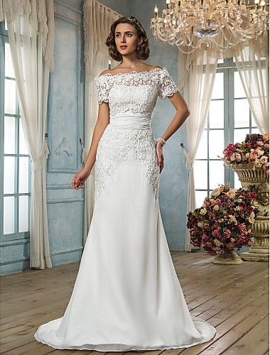 Trumpet/Mermaid Off-the-shoulder Sweep/Brush Train Chiffon Wedding Dress Easebuy! Free Measurement!