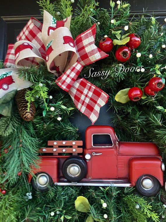 fall truck wreath fall wreath truck wreaths sunflower wreath front doorwreath blue truck wreath sassy doors wreaths wreath pinterest christmas - Christmas Truck Decor