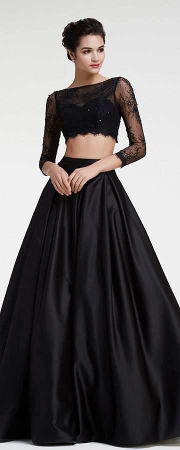 Black Lace Two Pieces Prom Dresses Long Sleeves  98d5415abecd