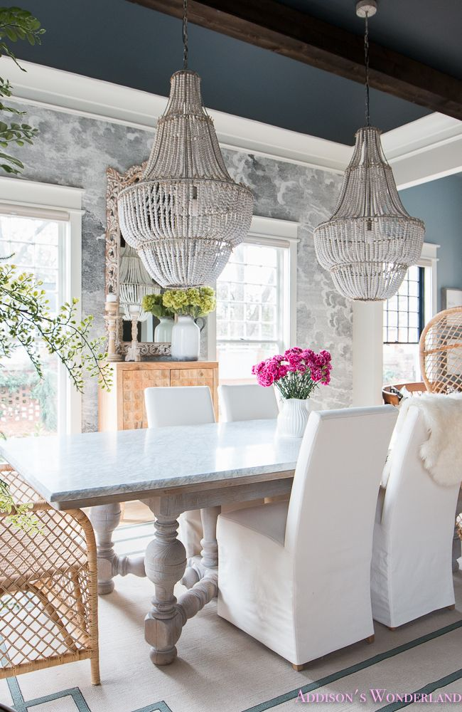 dining-room-cloud-nuvolette-wallpaper-black-ceiling-dark-wood-beams-parsons-chairs-balloon-wingback-rattan-end-chairs-5-of-23.jpg 650×1,000 pixels