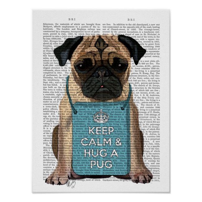 Hug A Pug Poster Zazzle Com Pug Art Pug Illustration Pugs