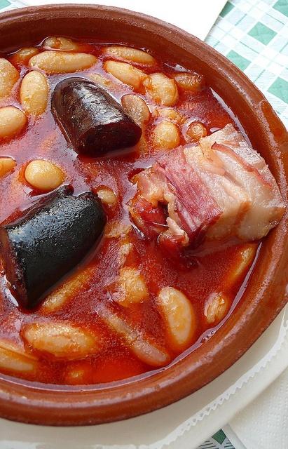 Fabada Asturianas region in Spain. Hearty white bean stew