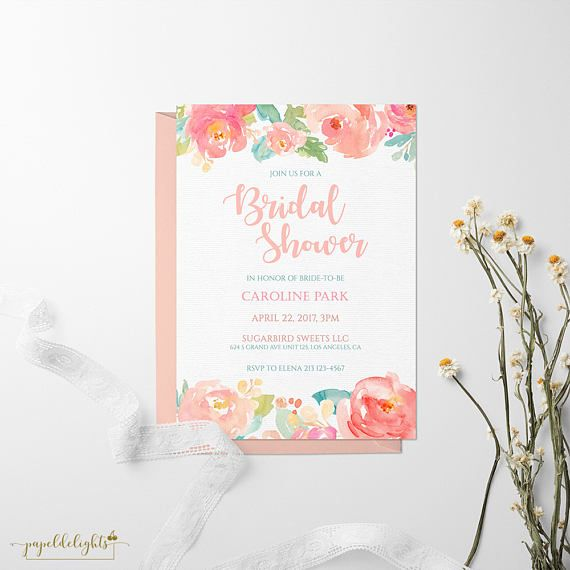 Bridal Shower Invitation - Peach Watercolor Florals | Customized Digital Printable