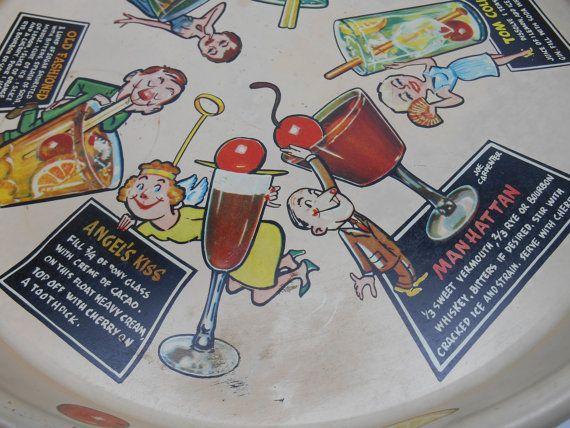Vintage Cocktail vassoio con ricette Drink di RicsRelics su Etsy