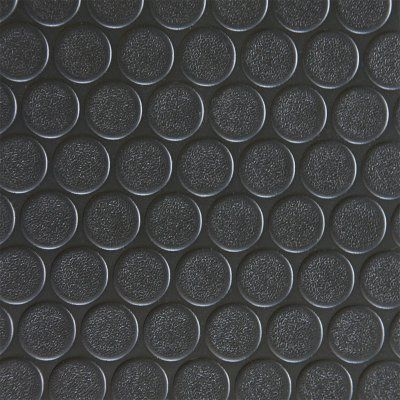 Rubber-Cal Coin Grip Anti-Slip Garage Flooring Rubber Mat Black - 03-165-2MM-BK-06
