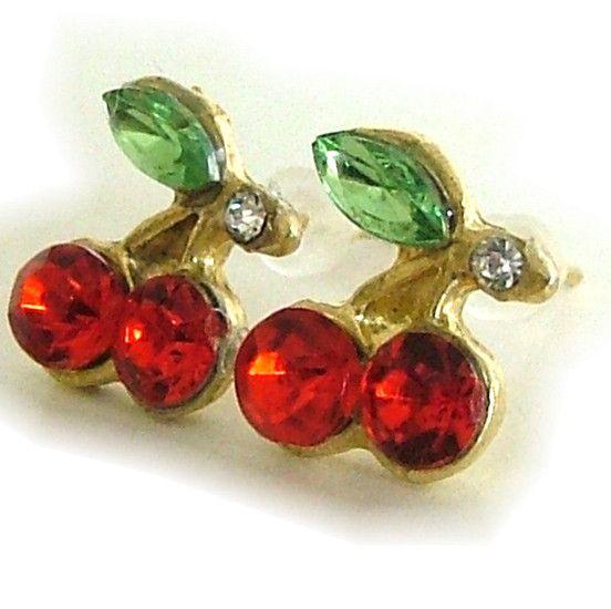 kersen oorbellen knopjes -cherry rood groen - SMADA® Trading