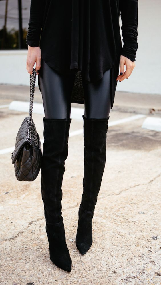 leather look leggings + suede over the knee boots