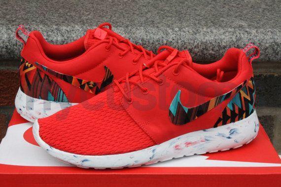 Nike Roshe Run Red Marble Aztec Tribal Print Custom, $160.00