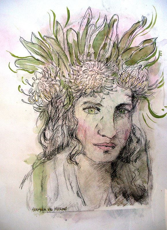 Title: Gekroon (Crowned) Medium: Mixed media on paper: Printing ink and thinners/chalk Pastel/Charcoal/Pen and Ink/Graphite Size: 595mm x 420mm Artists thoughts: Revelation 6:2. The bride is true to her groom and receives life as her crown. The pin-cushion flower rests softly on her head – unlike a crown of thorns.