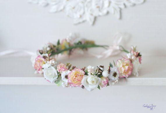 Peach-pink Carnation white Roses Hair Wreath.  Peach White Flower Wedding Crown. Gentle Girl Bridal Headpiece