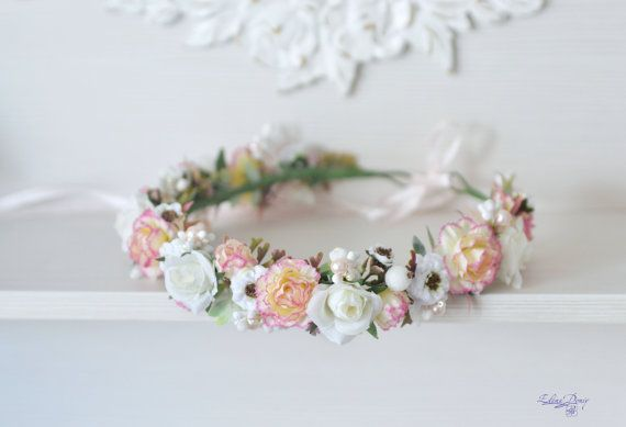 Peach-pink Carnation white Roses Hair Wreath.  Peach White Flower Wedding Crown. Gentle Girl Bridal Headpiece