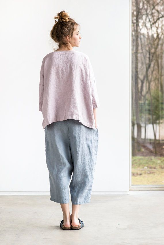 Light elephant grey loose linen pants with deep by notPERFECTLINEN