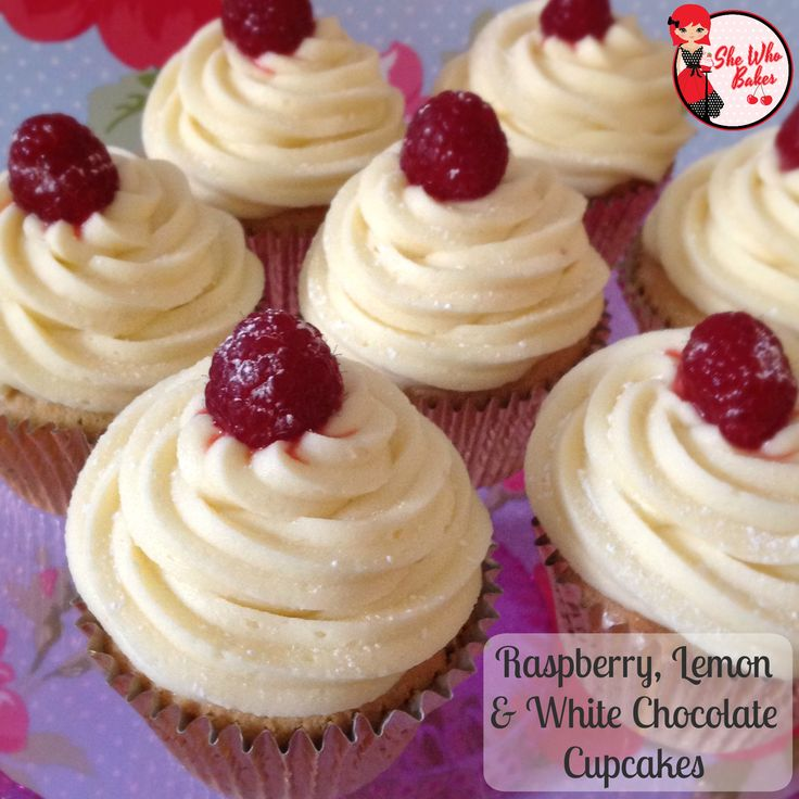 Raspberry, Lemon & White Chocolate Cupcake Recipe - She Who Bakes