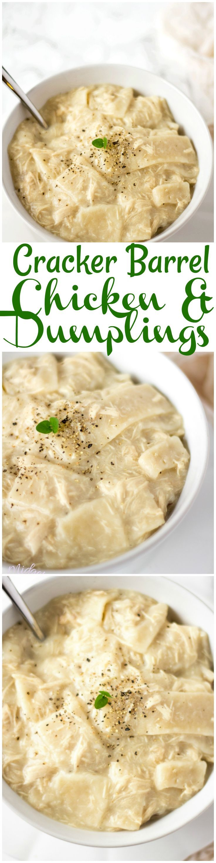 Copycat Cracker Barrel Chicken and Dumplings are just like the ones you will find at Cracker Barrel. Its like a thick chicken soup and AMAZING! Easy to follow Chicken and Dumplings recipe.