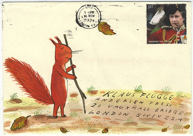 Credit: Axel Scheffler http://www.theguardian.com/childrens-books-site/gallery/2011/apr/21/illustrated-envelopes-posy-simmonds-axel-scheffler-tony-ross-david-mckee?picture=373125699#/?picture=373125745&index=10