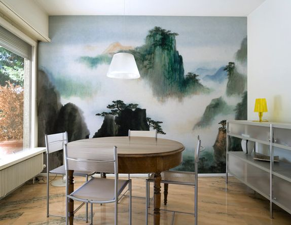 Chinese Watercolor Inspired Wall Mrual Mural Wallpaper Statement Accent Modern Boho Bohemian Eclectic Interior Design Home Decor