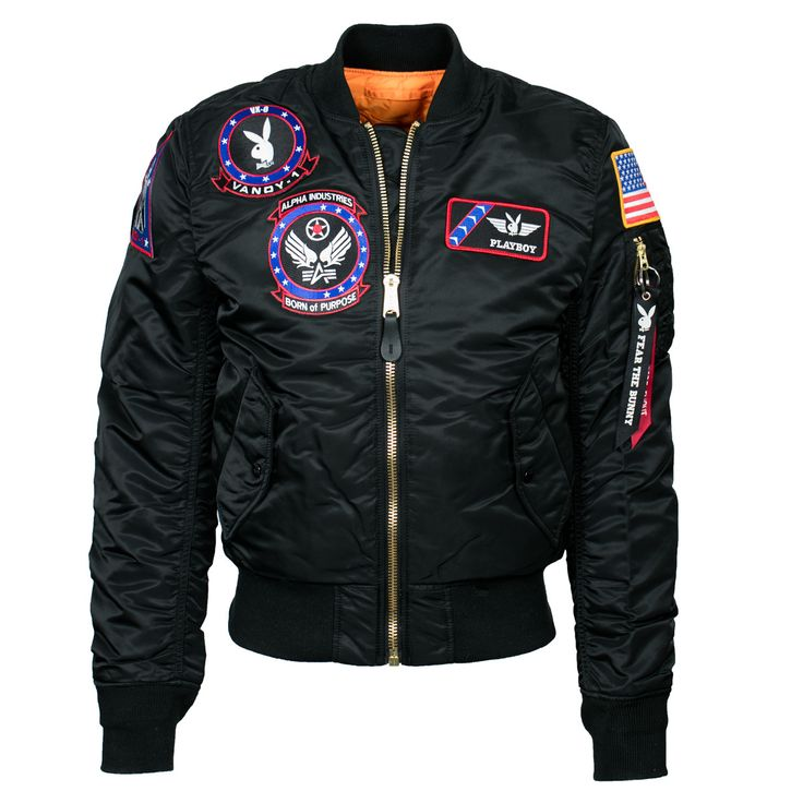 - Description - Specs - Playboy collaborated with Alpha Industries to design an exclusive Vandy-1 Flight Jacket. Each patch was uniquely designed with the purpose of sharing the story of Playboy's lon