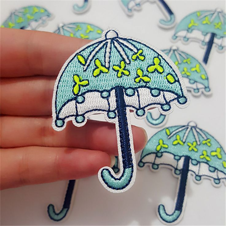 2Pcs Umbrella Patch for Clothes Iron on Embroidered Applique Sewing Fabric Clothes Badge Garment DIY Apparel Accessories