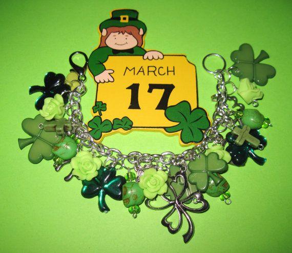 St Patrick's Day Charm Bracelet Vintage Style Jewelry by Jynxx, $34.00