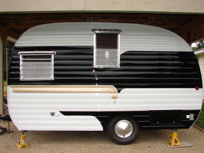Black and white caravan