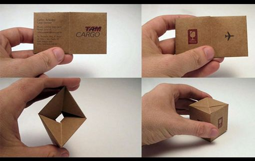 A business card that turns into a box! Clever. Bet this one doesn't get tossed out often.