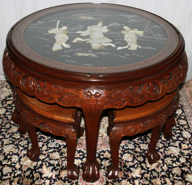 Chinese carved wood table 050177 chinese carved wood for Oriental wood carved furniture