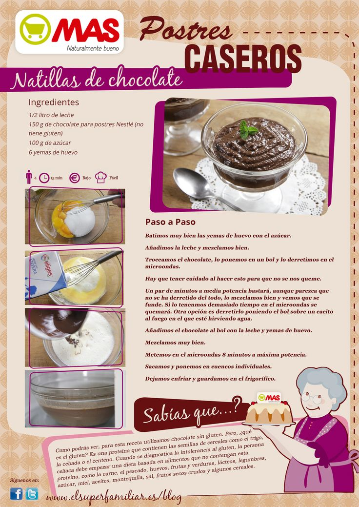 Receta de natillas de chocolate sin gluten