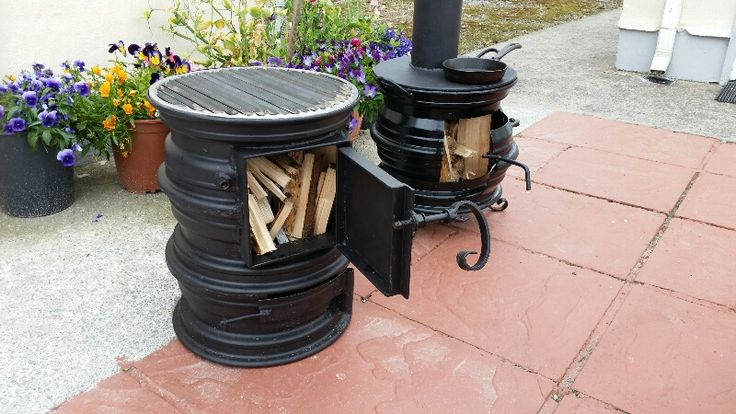 Stove and firepit with chimney and grille swapped